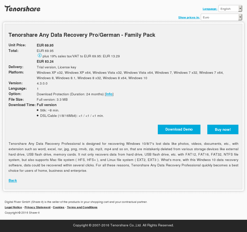 Tenorshare Any Data Recovery Pro/German - Family Pack