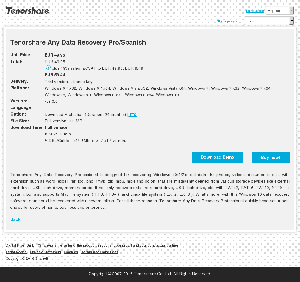 Tenorshare Any Data Recovery Pro/Spanish
