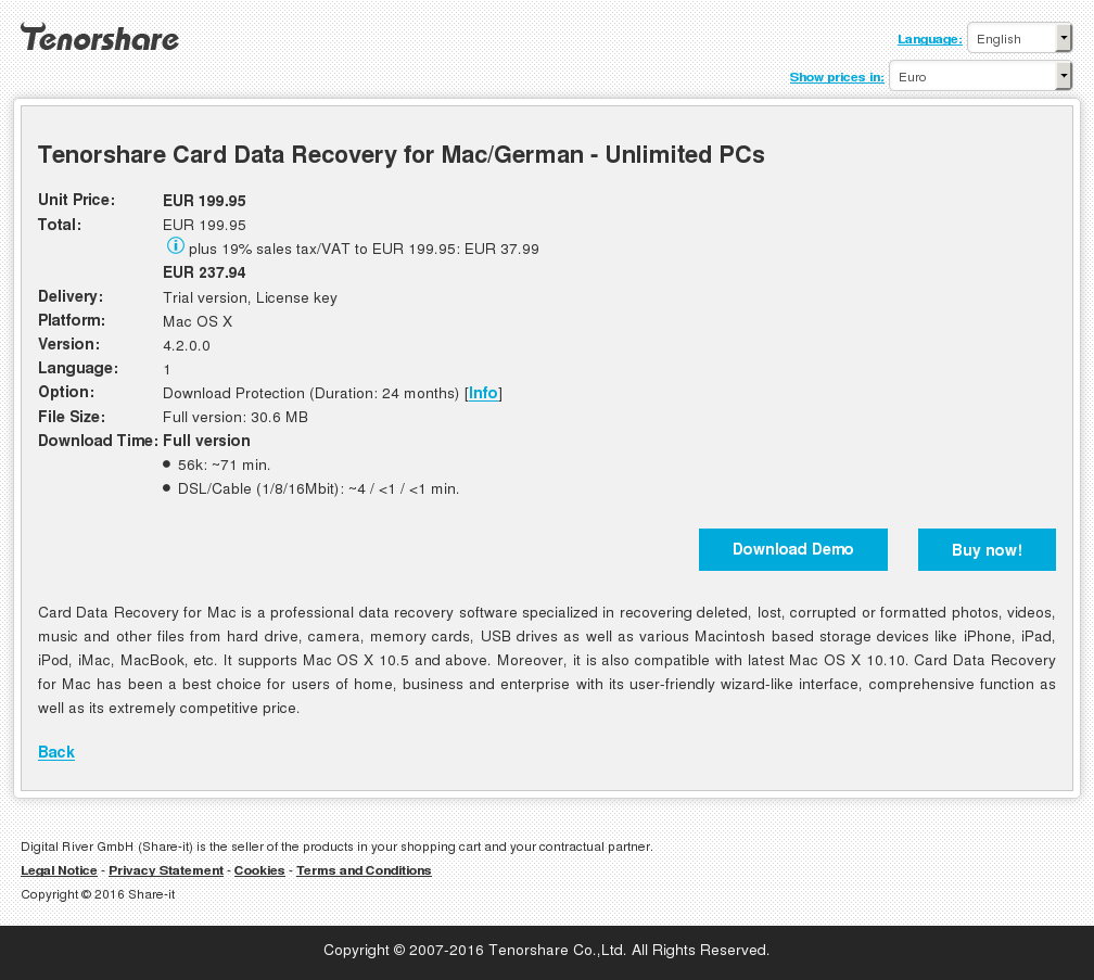 Tenorshare Card Data Recovery for Mac/German - Unlimited PCs