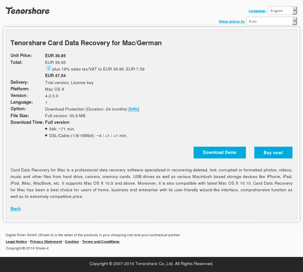Tenorshare Card Data Recovery for Mac/German