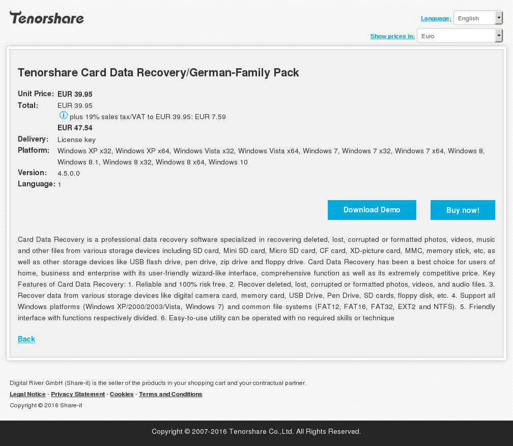 Tenorshare Card Data Recovery/German-Family Pack