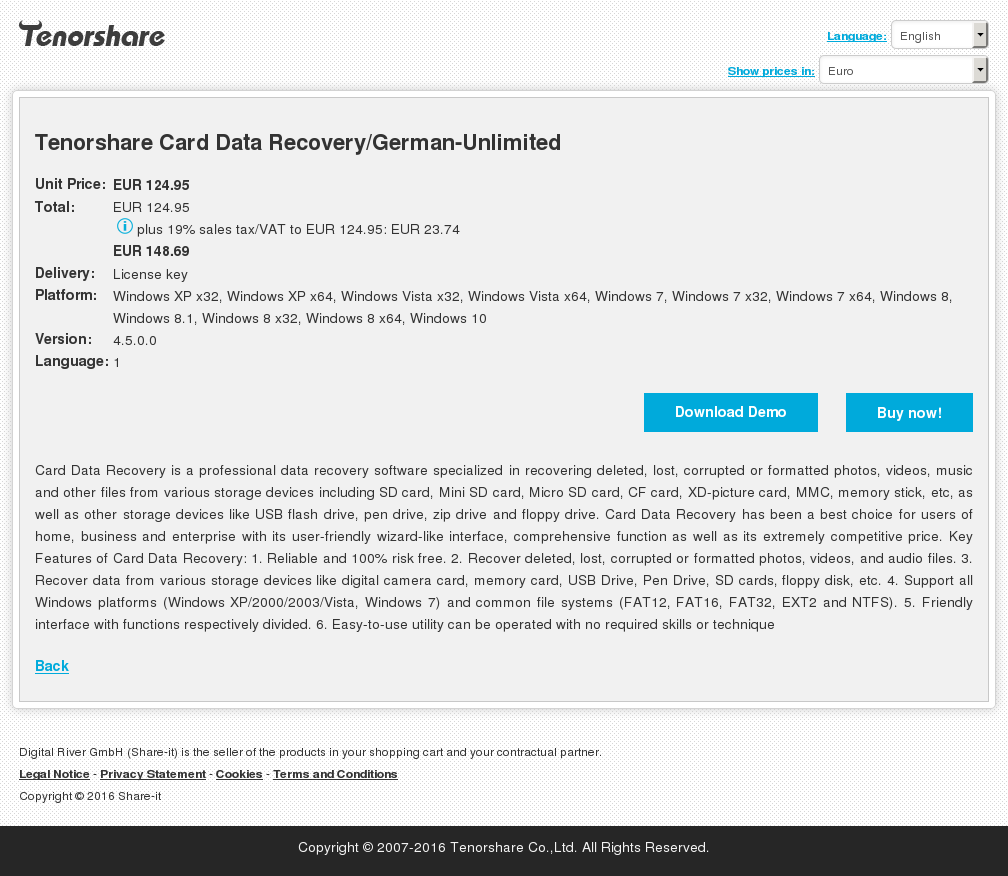 Tenorshare Card Data Recovery/German-Unlimited