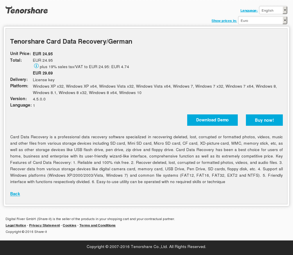 Tenorshare Card Data Recovery/German