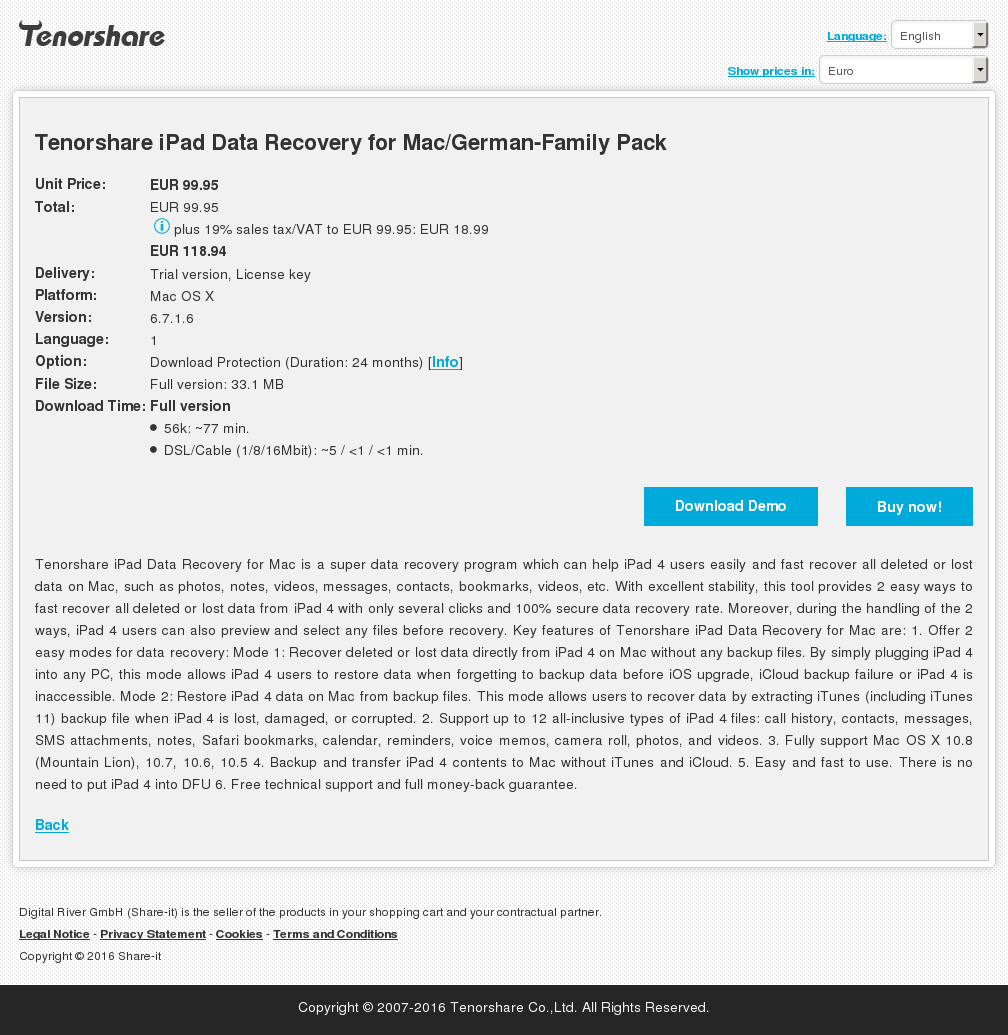 Tenorshare iPad Data Recovery for Mac/German-Family Pack