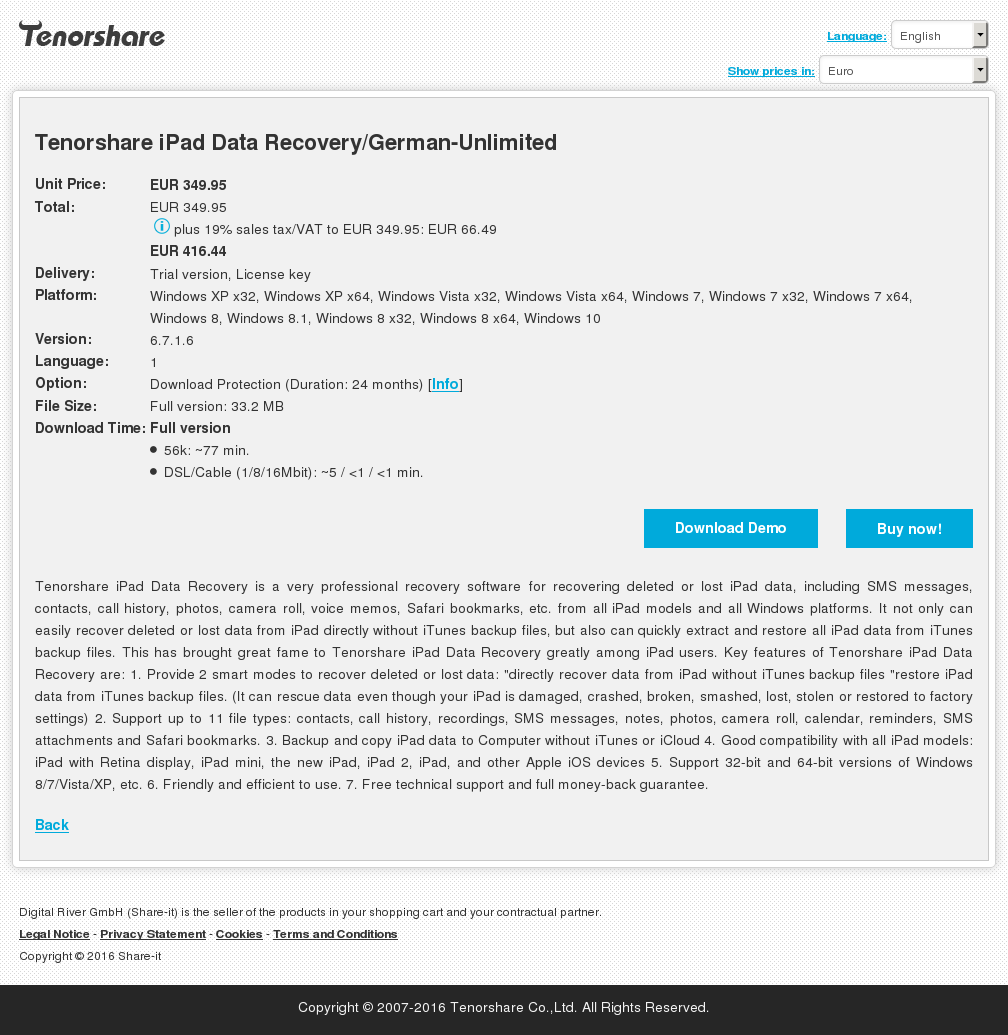 Tenorshare iPad Data Recovery/German-Unlimited