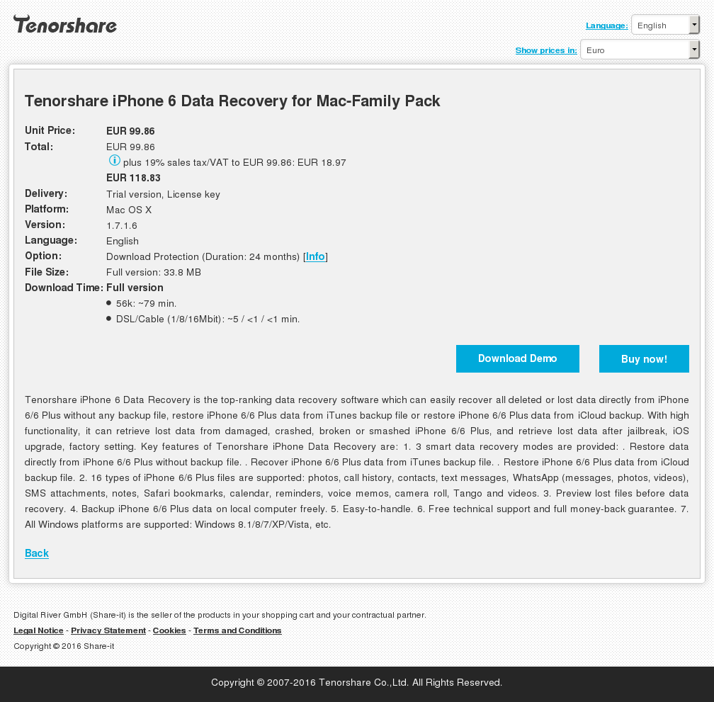 Tenorshare iPhone 6 Data Recovery for Mac-Family Pack