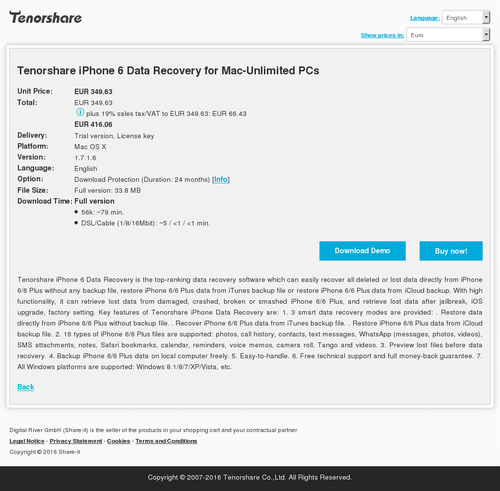 Tenorshare iPhone 6 Data Recovery for Mac-Unlimited PCs