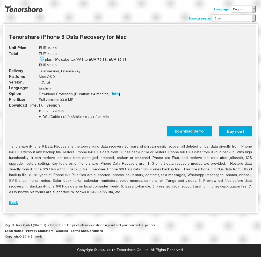 Tenorshare iPhone 6 Data Recovery for Mac