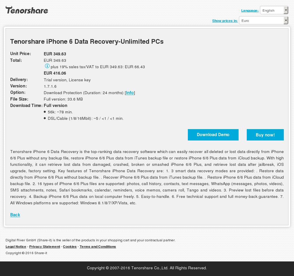 Tenorshare iPhone 6 Data Recovery-Unlimited PCs