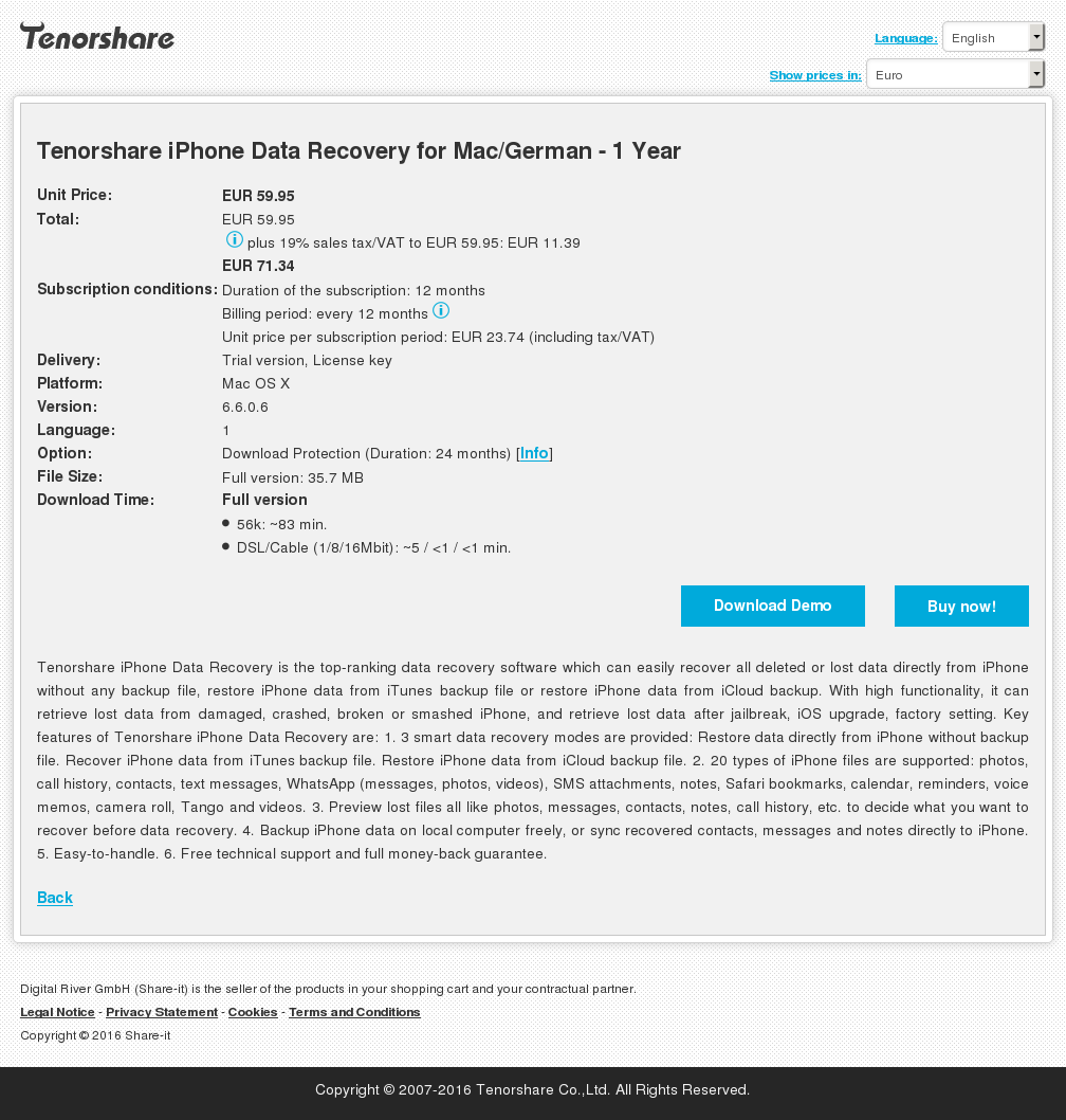Tenorshare iPhone Data Recovery for Mac/German - 1 Year