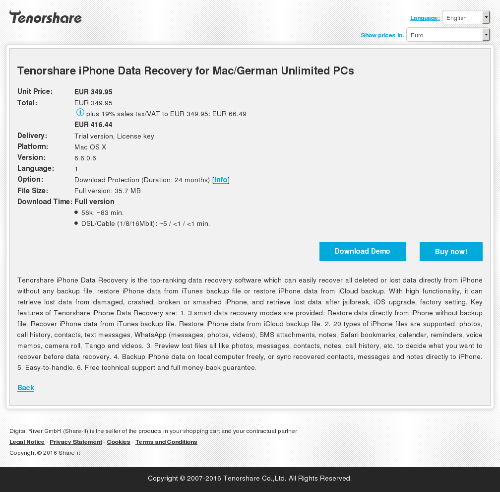 Tenorshare iPhone Data Recovery for Mac/German Unlimited PCs