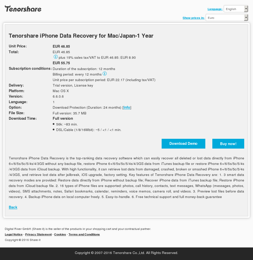 Tenorshare iPhone Data Recovery for Mac/Japan-1 Year