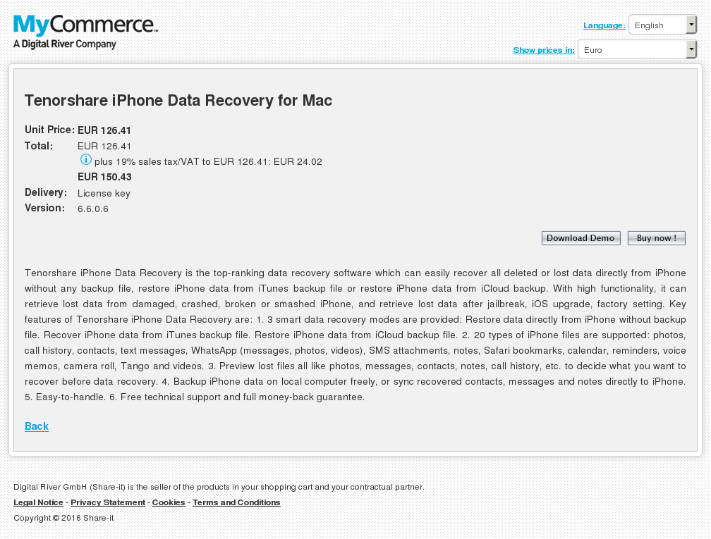 Tenorshare iPhone Data Recovery for Mac
