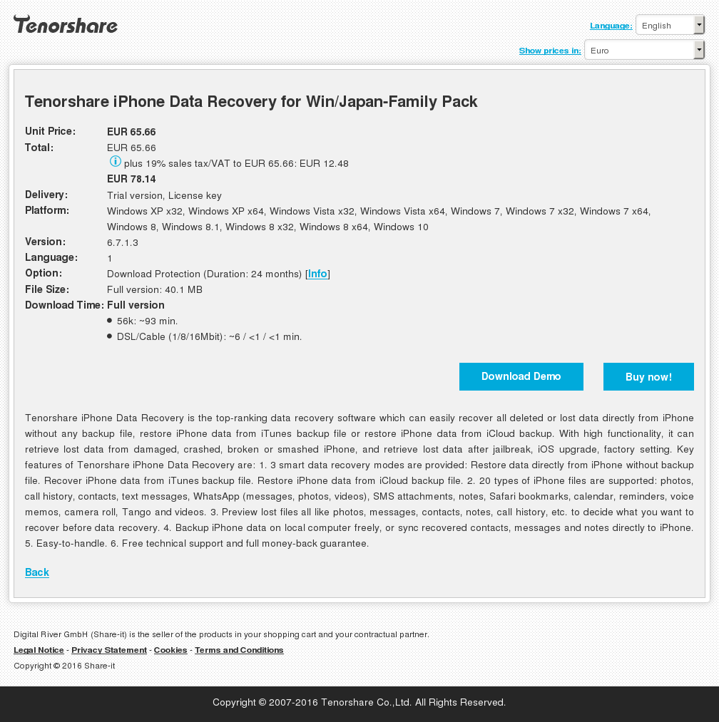 Tenorshare iPhone Data Recovery for Win/Japan-Family Pack