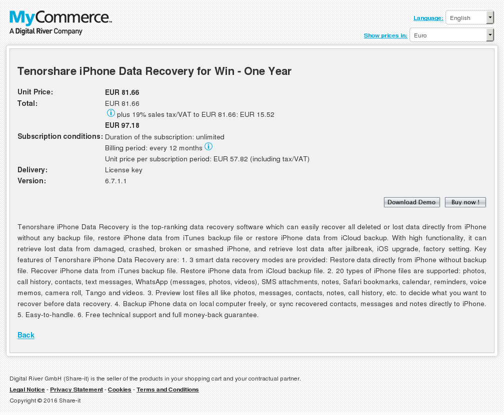 Tenorshare iPhone Data Recovery for Win - One Year