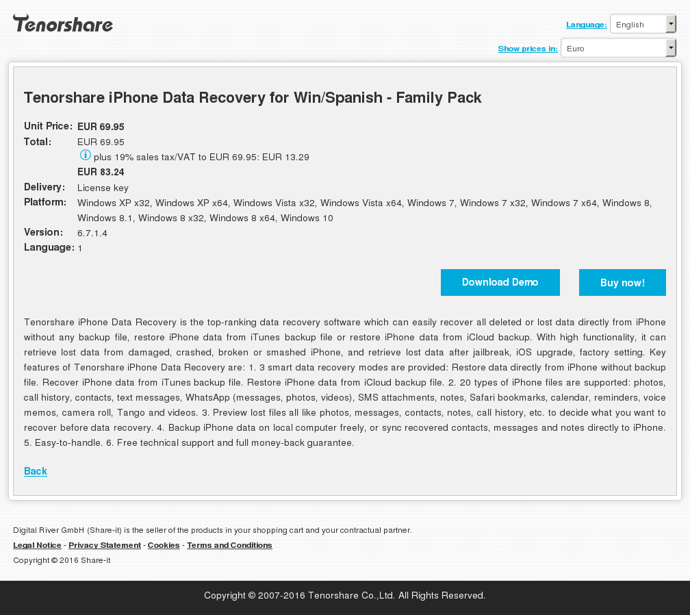 Tenorshare iPhone Data Recovery for Win/Spanish - Family Pack