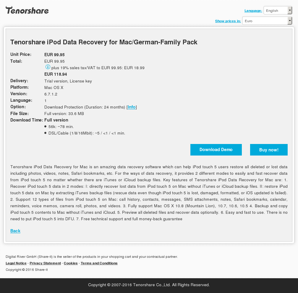 Tenorshare iPod Data Recovery for Mac/German-Family Pack