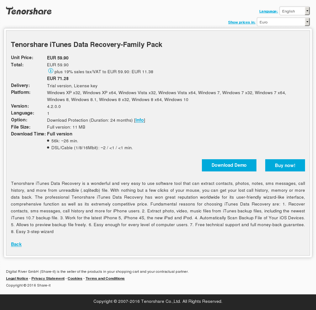 Tenorshare iTunes Data Recovery-Family Pack
