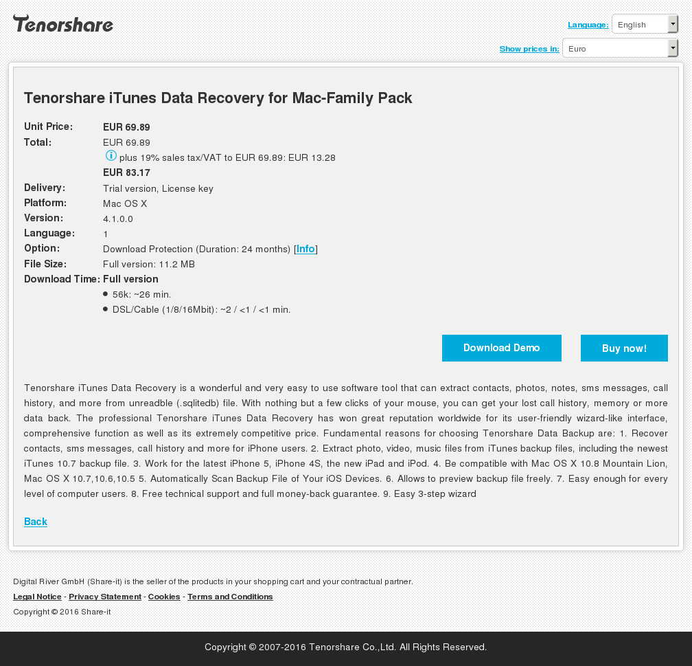 Tenorshare iTunes Data Recovery for Mac-Family Pack