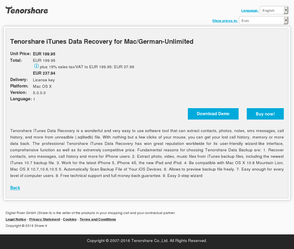 Tenorshare iTunes Data Recovery for Mac/German-Unlimited