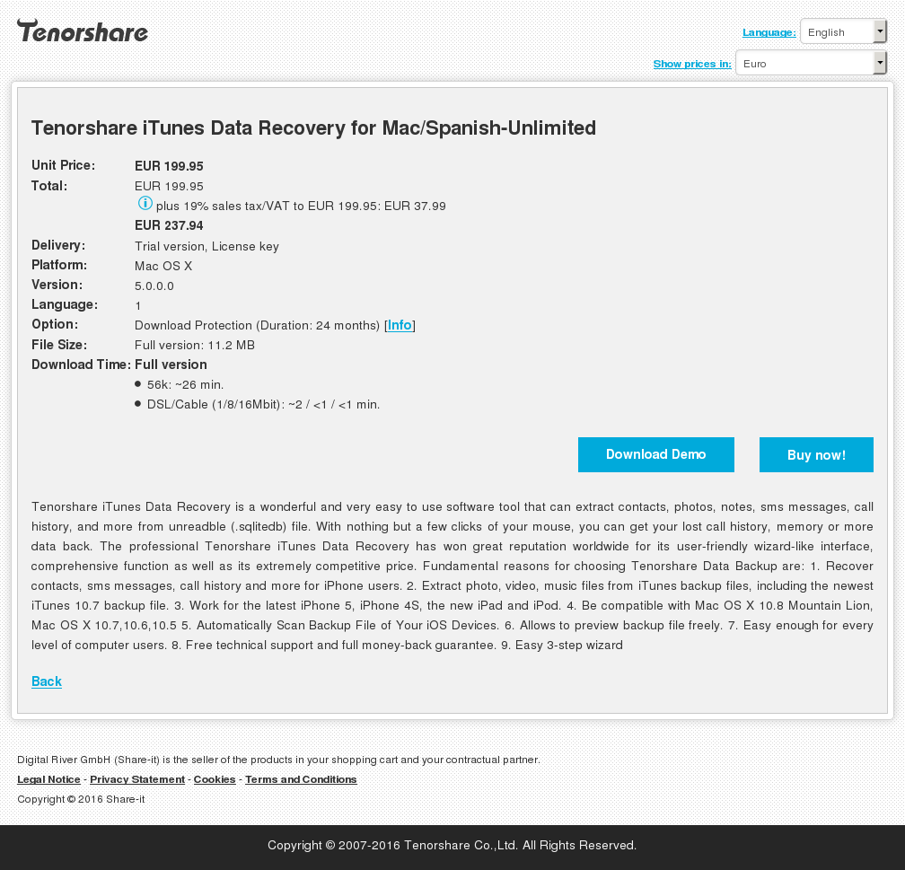 Tenorshare iTunes Data Recovery for Mac/Spanish-Unlimited