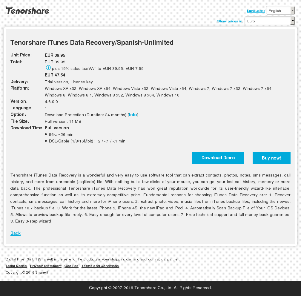 Tenorshare iTunes Data Recovery/Spanish-Unlimited