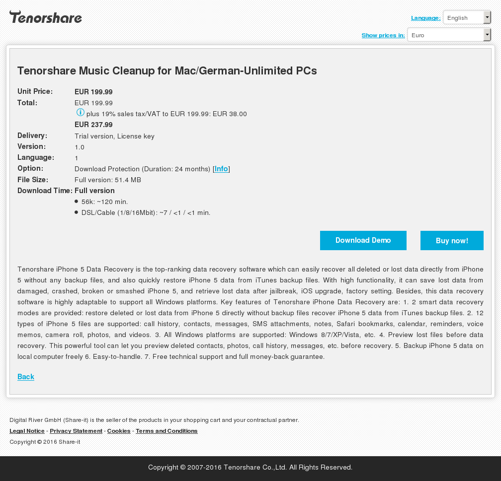 Tenorshare Music Cleanup for Mac/German-Unlimited PCs