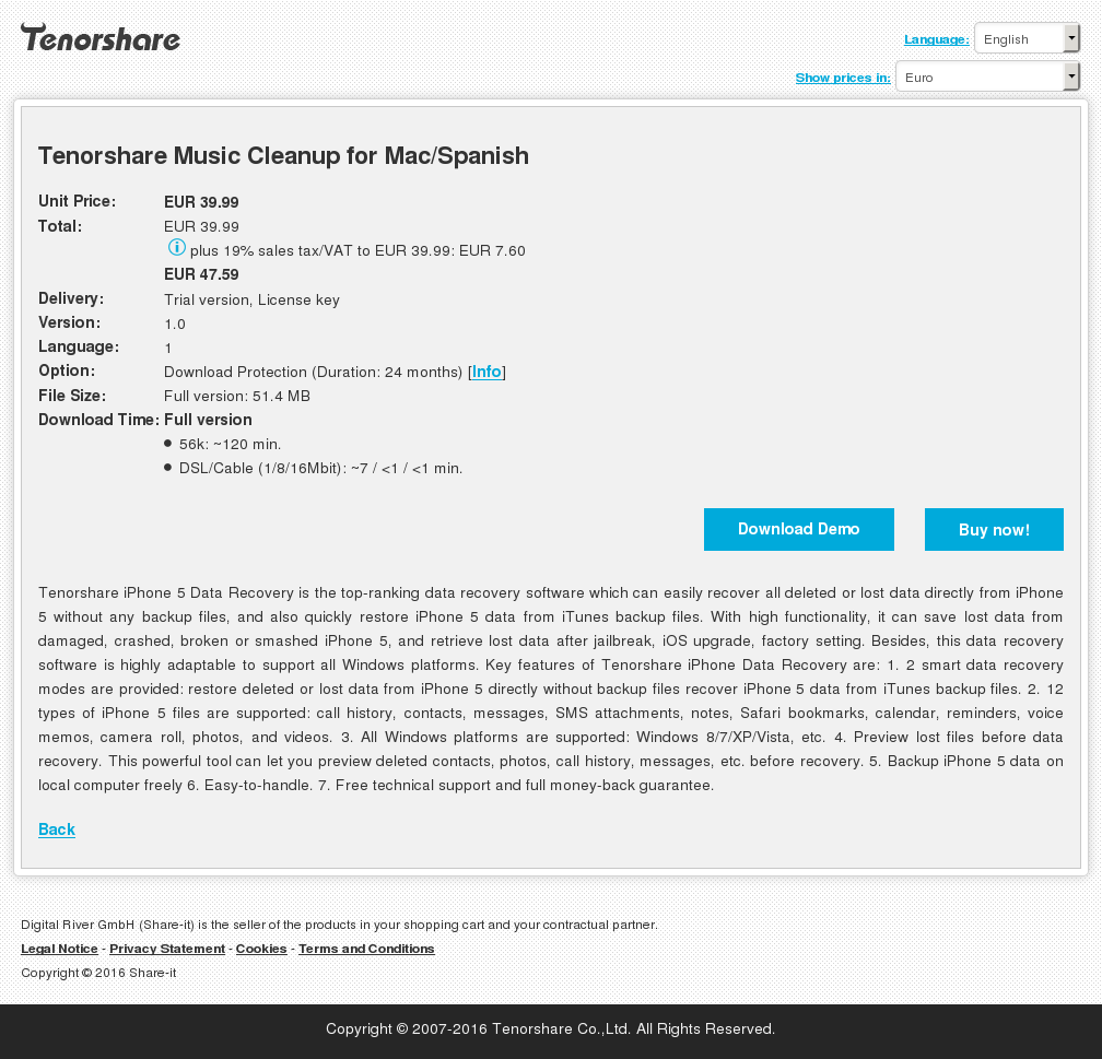 Tenorshare Music Cleanup for Mac/Spanish