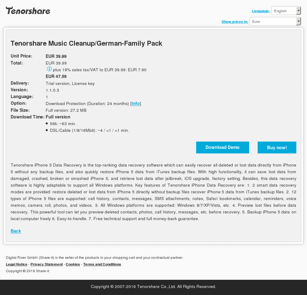 Tenorshare Music Cleanup/German-Family Pack