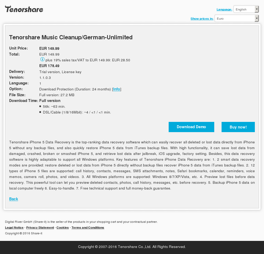 Tenorshare Music Cleanup/German-Unlimited