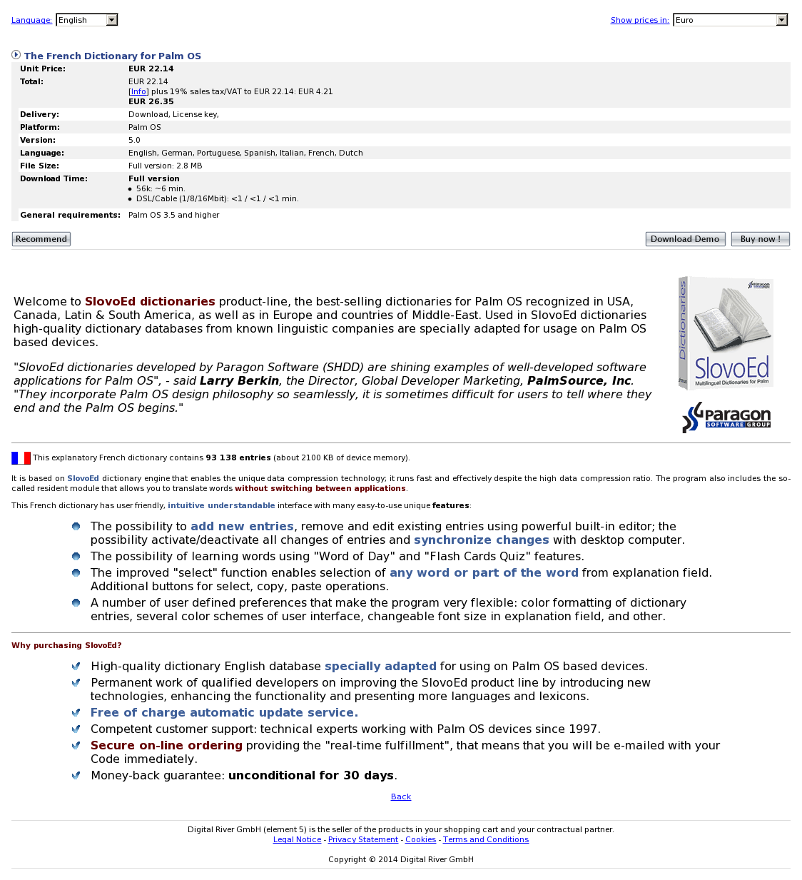 The French Dictionary for Palm OS