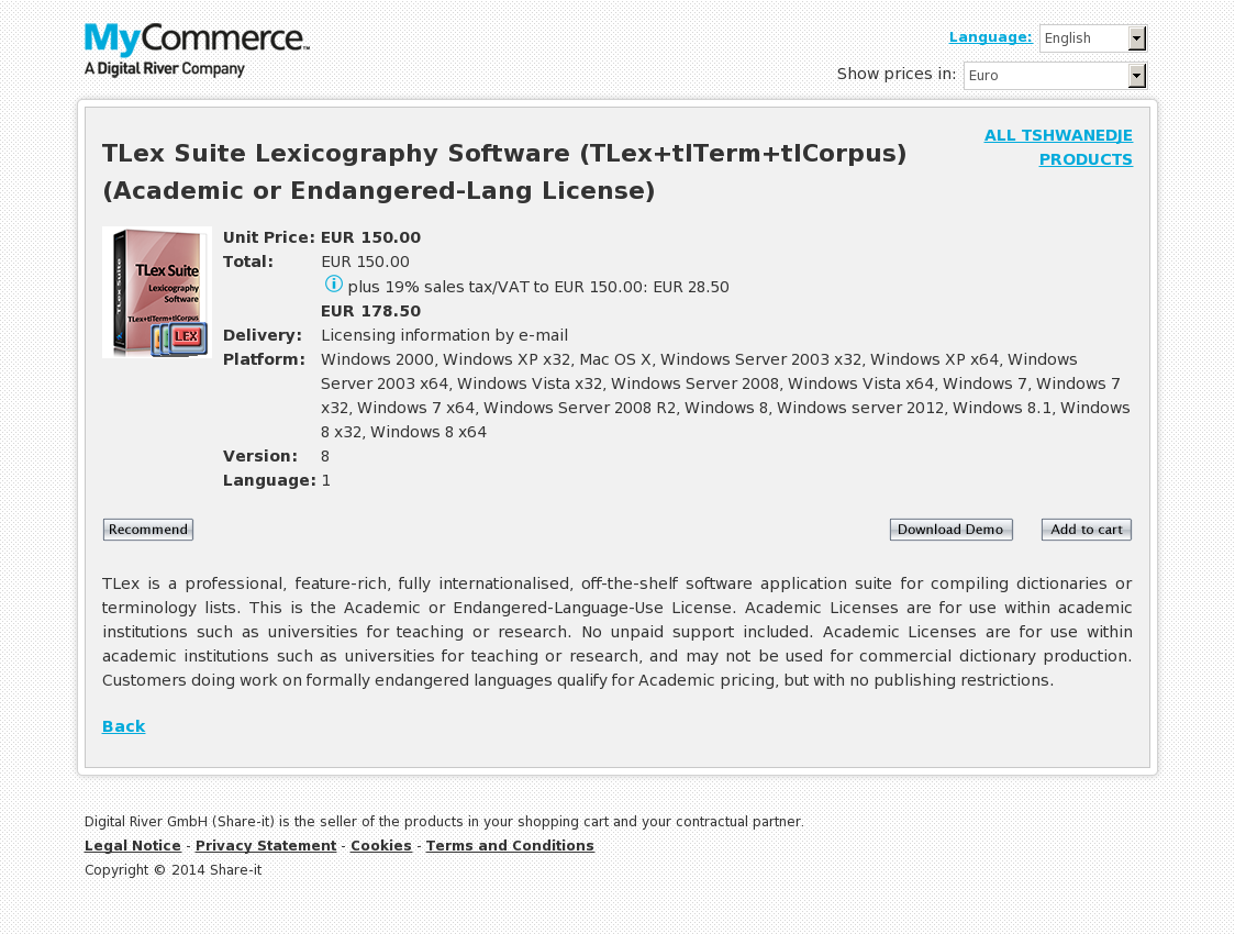 TLex Suite Lexicography Software (TLex+tlTerm+tlCorpus) (Academic or Endangered-Lang License)