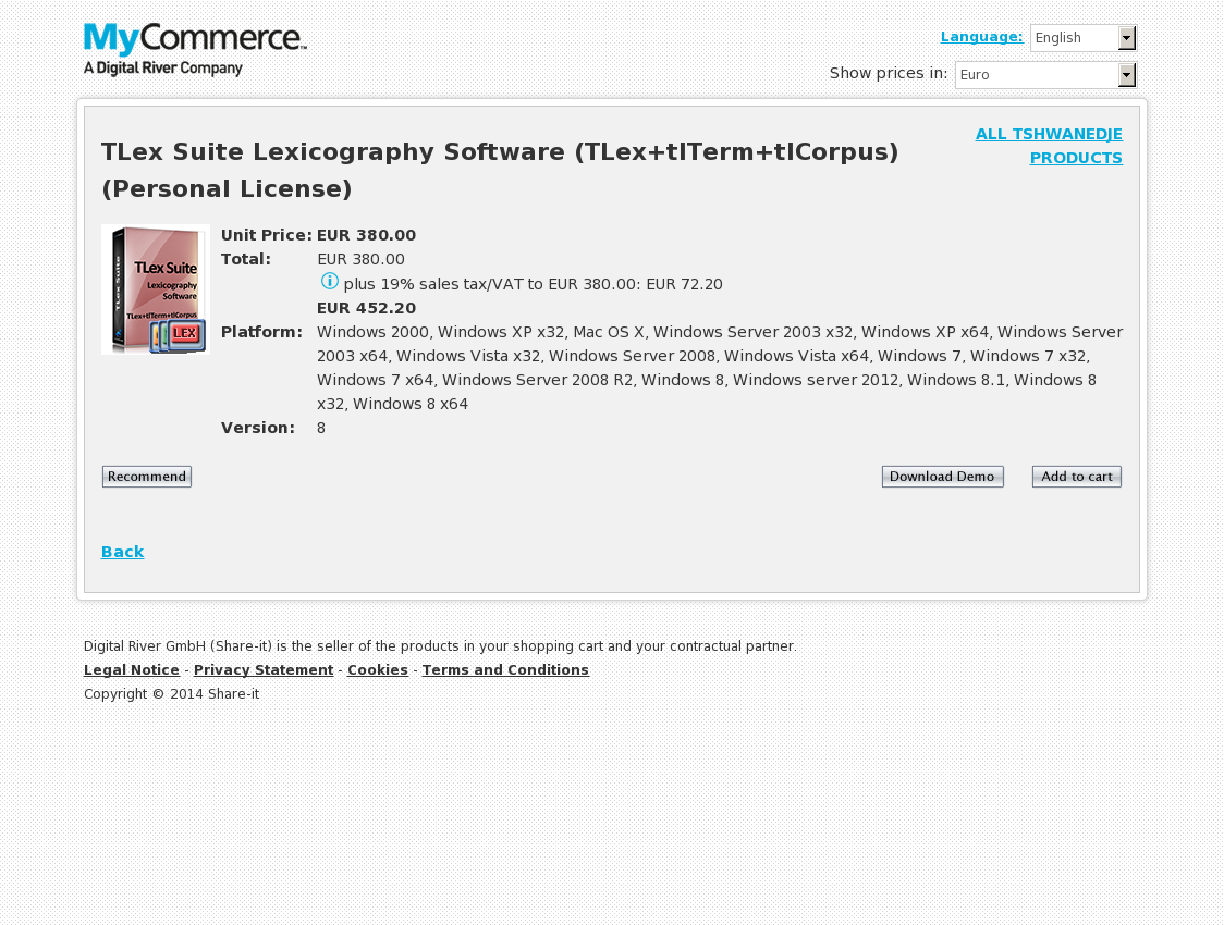 TLex Suite Lexicography Software (TLex+tlTerm+tlCorpus) (Personal License)