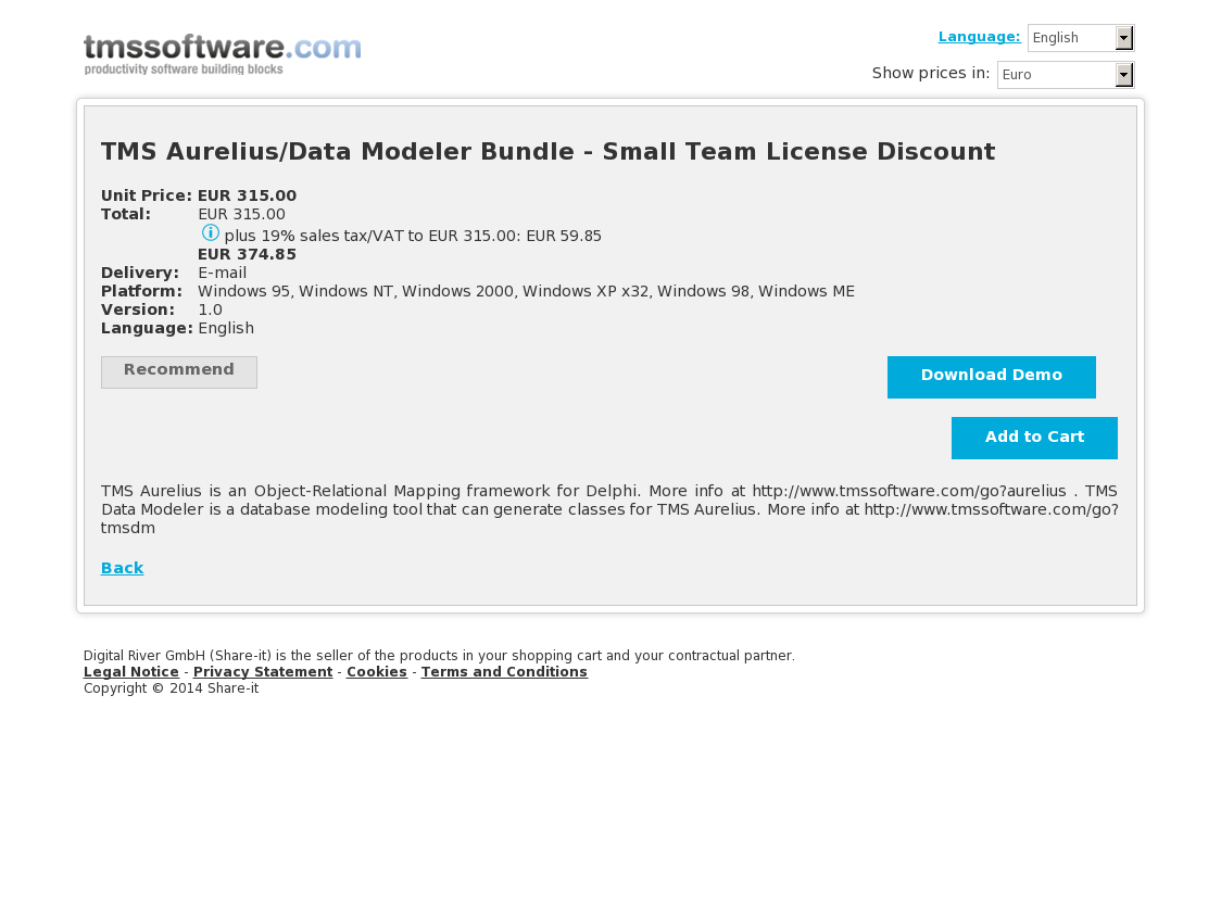 TMS Aurelius/Data Modeler Bundle - Small Team License Discount