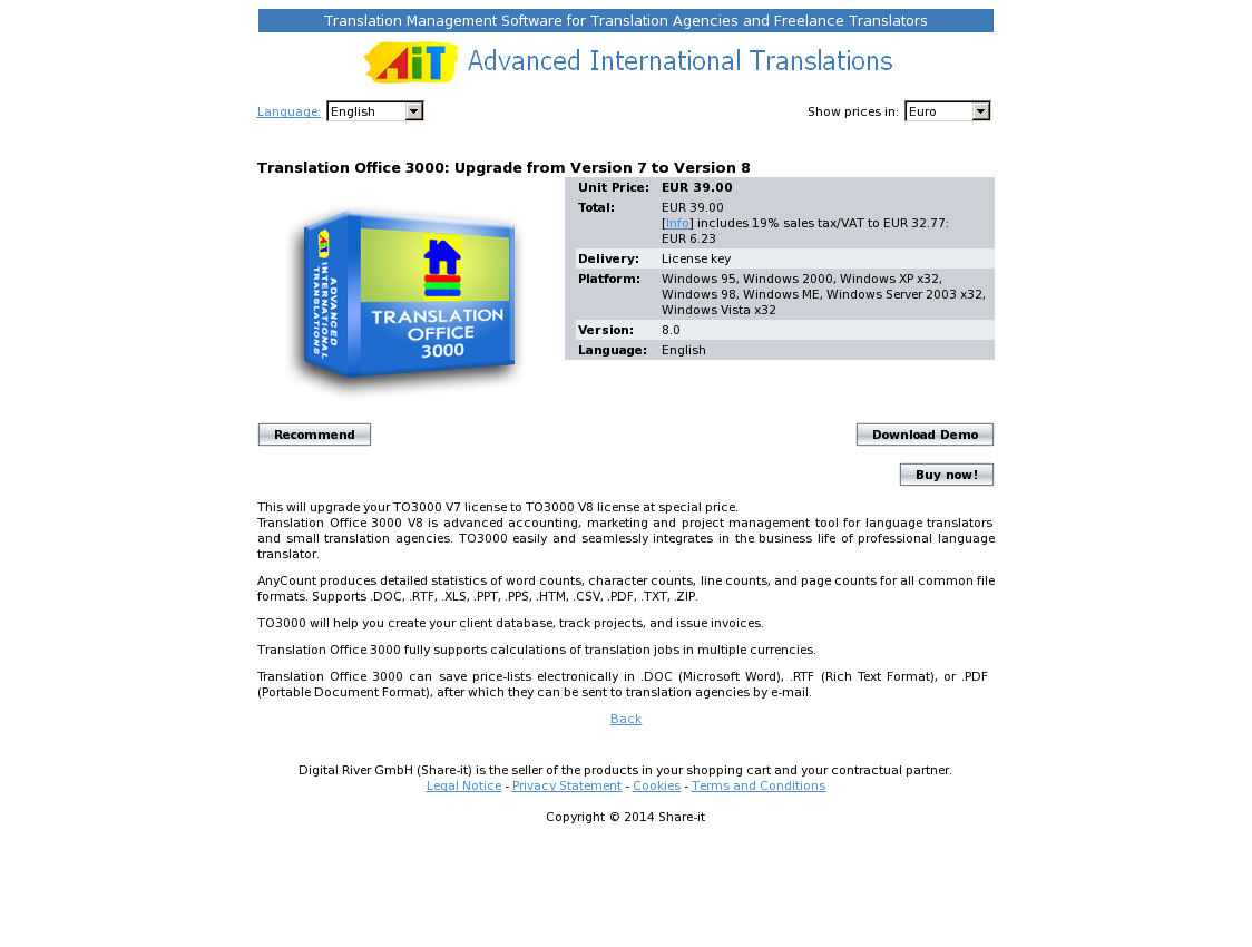 Translation Office 3000: Upgrade from Version 7 to Version 8