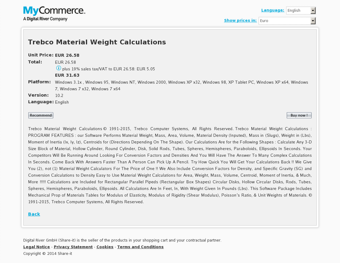Trebco Material Weight Calculations