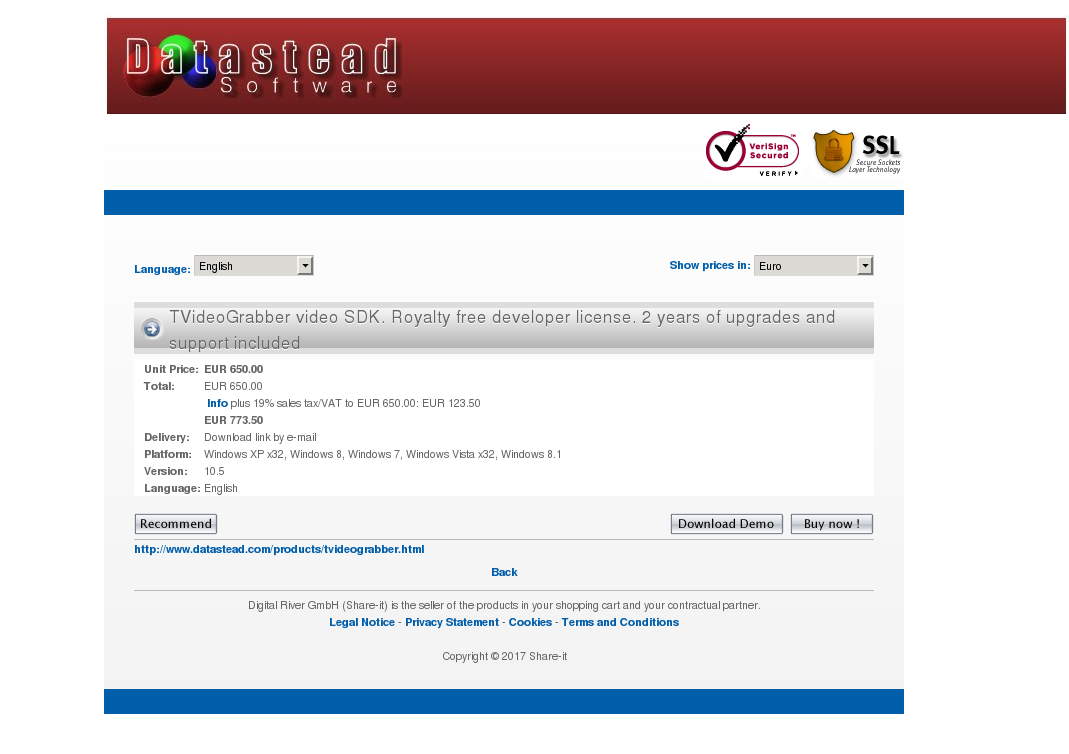 TVideoGrabber SDK, 2 years of upgrades and e-mail support included