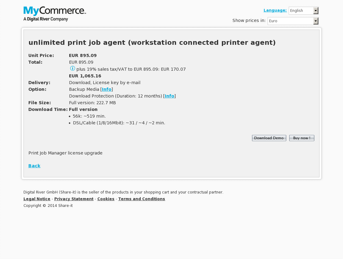 unlimited print job agent (workstation connected printer agent)