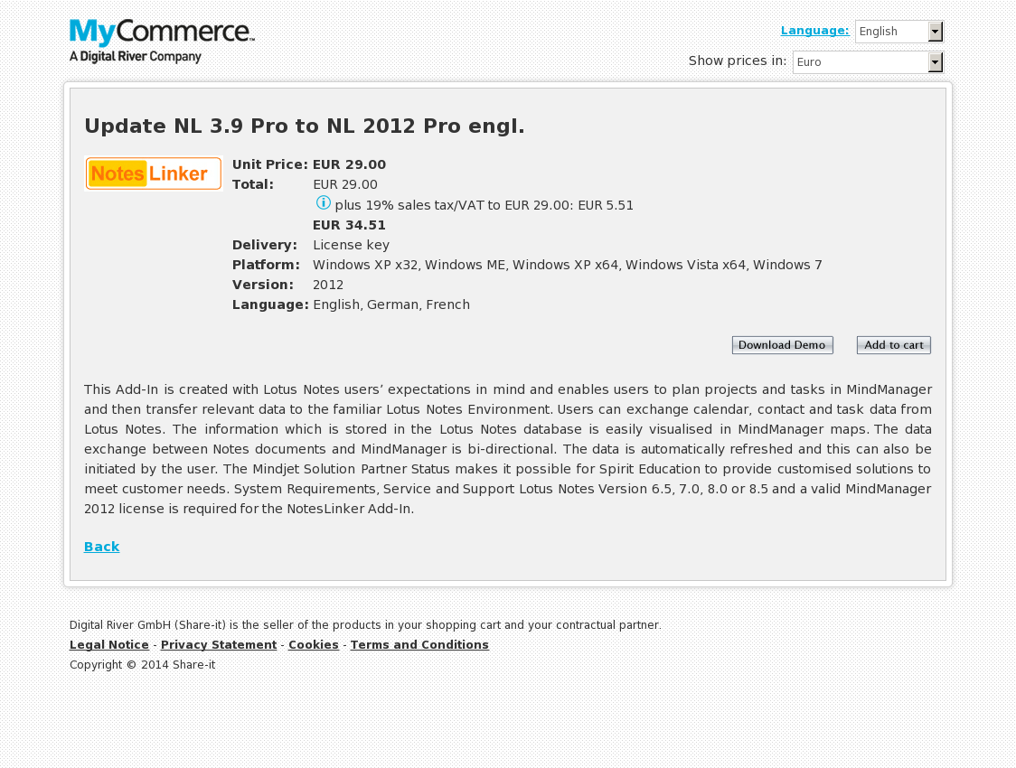 Update NL 3.9 Pro to NL 2012 Pro engl.