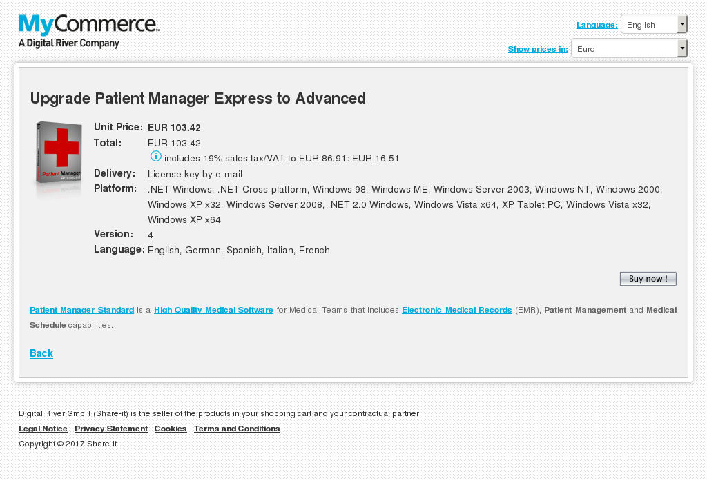 Upgrade Patient Manager Express to Advanced