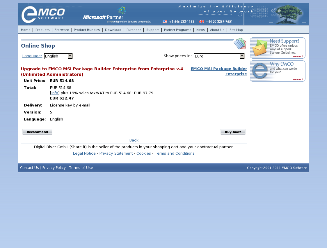 Upgrade to EMCO MSI Package Builder Enterprise from Enterprise v.4 (Unlimited Administrators)