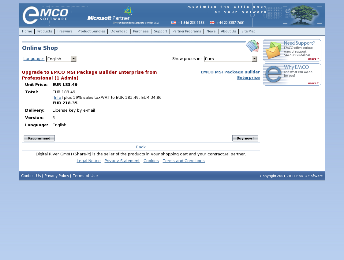 Upgrade to EMCO MSI Package Builder Enterprise from Professional (1 Admin)