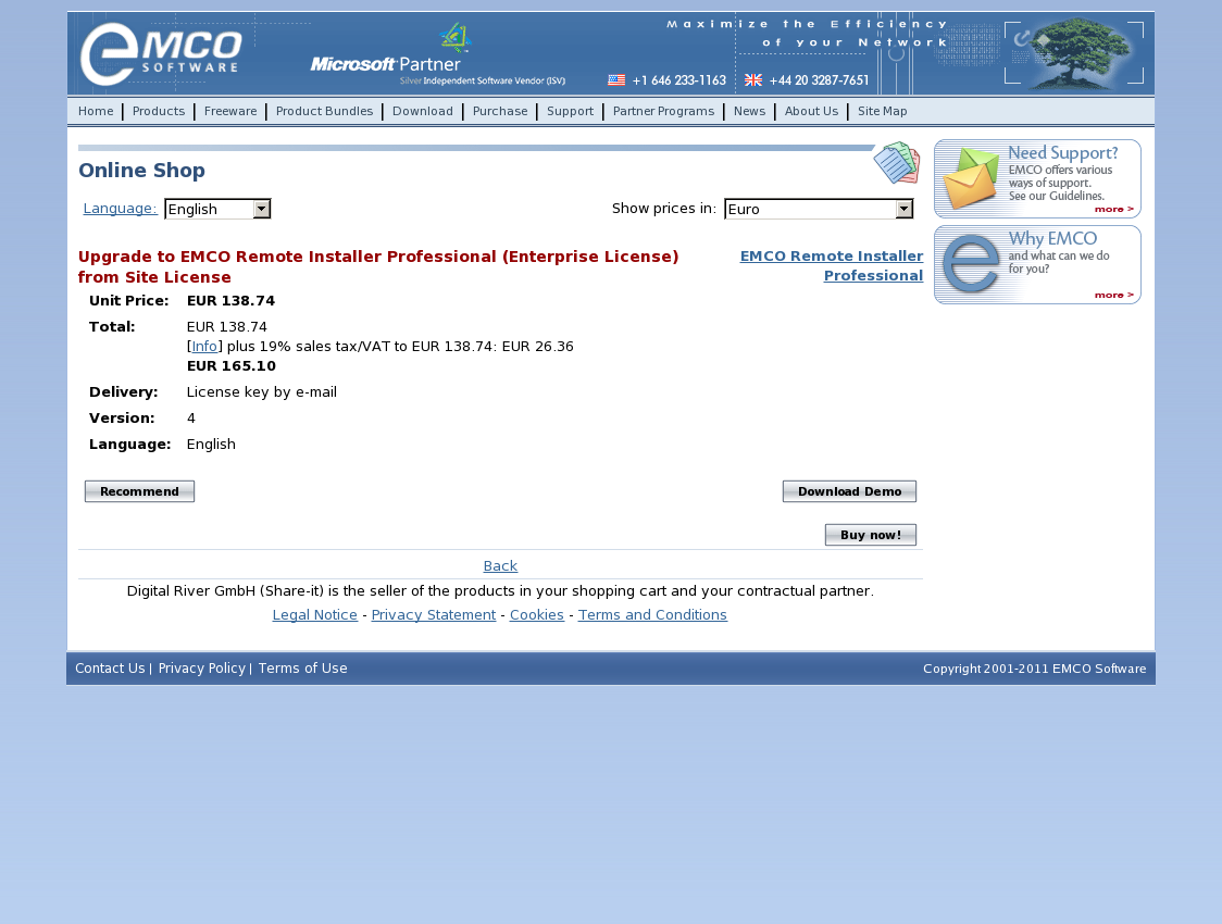Upgrade to EMCO Remote Installer Professional (Enterprise License) from Site License