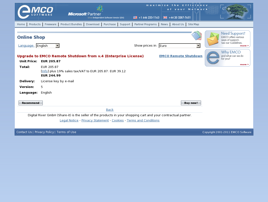 Upgrade to EMCO Remote Shutdown from v.4 (Enterprise License)