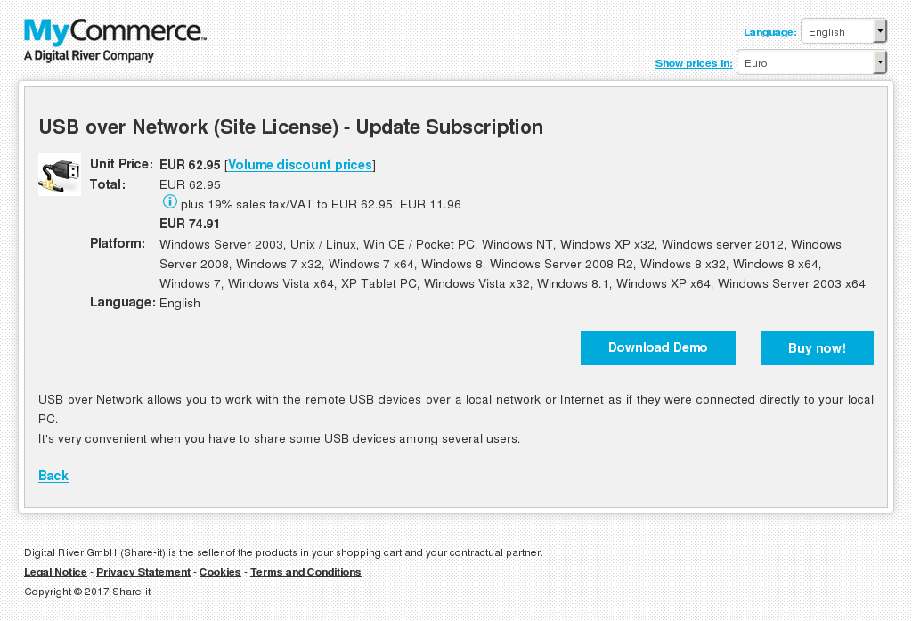 USB over Network (Site License) - Update Subscription