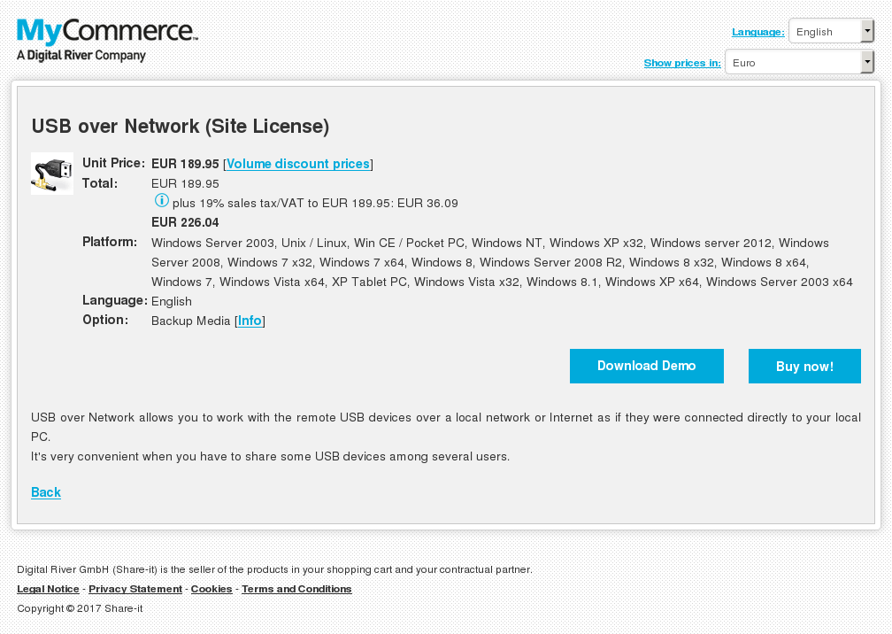 USB over Network (Site License)