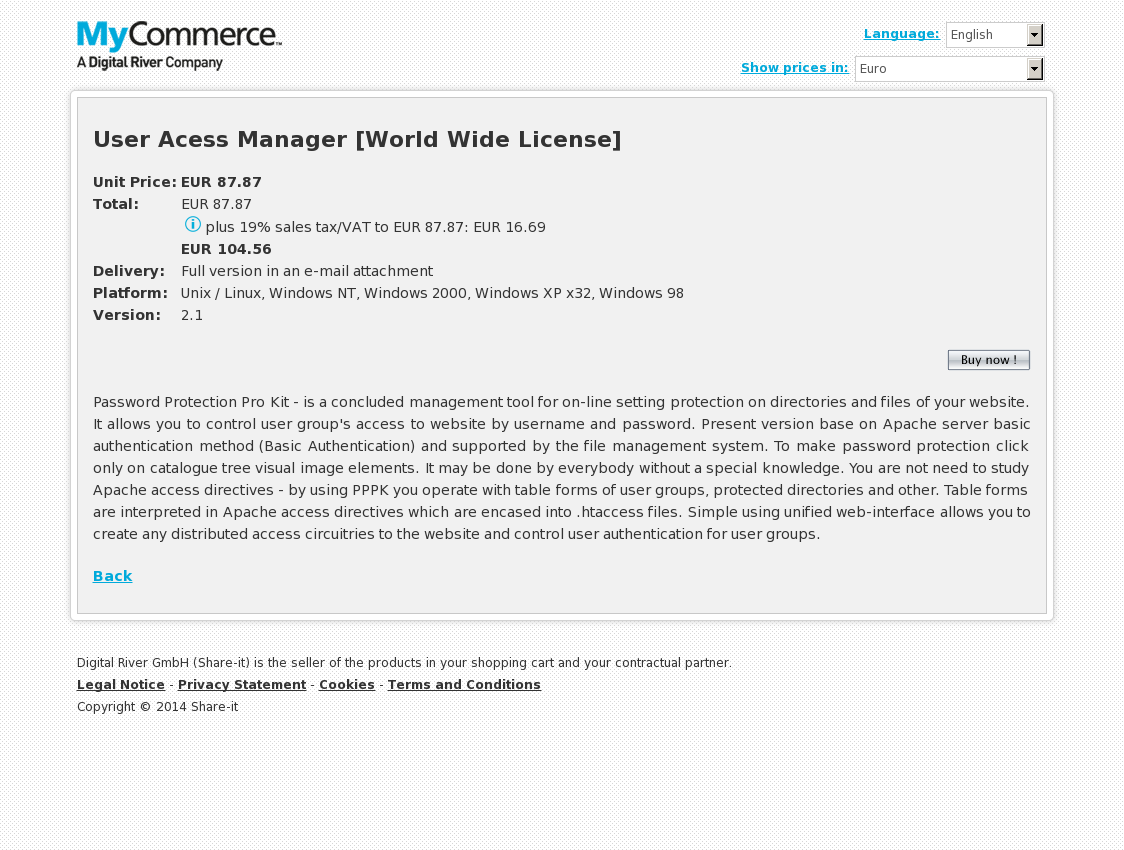 User Acess Manager [World Wide License]