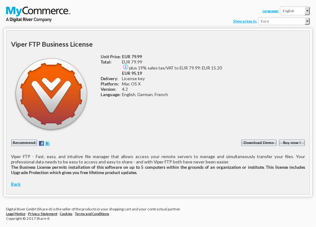 Viper FTP Business License