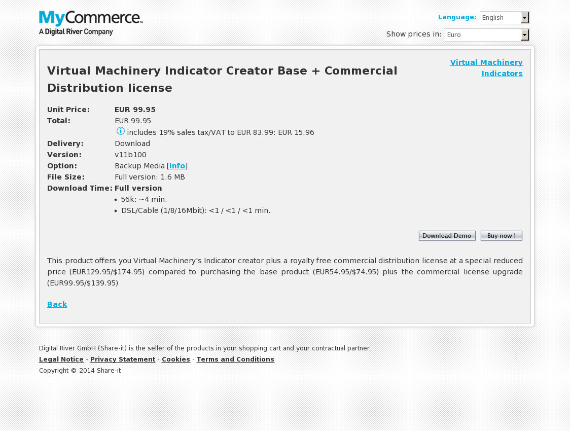 Virtual Machinery Indicator Creator Base + Commercial Distribution license