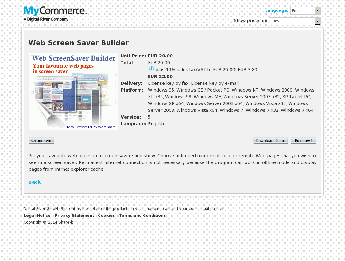 Web Screen Saver Builder-multi license or corporate use